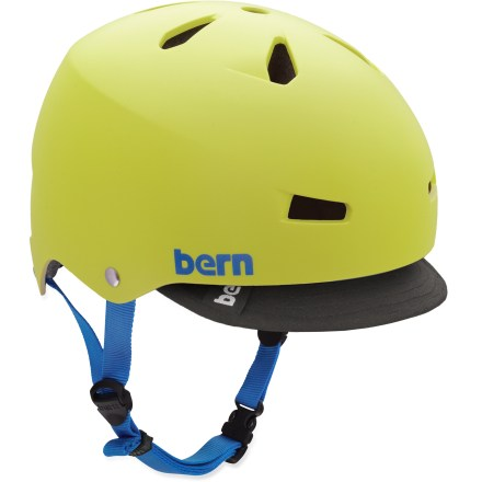 Ski The skate-inspired Bern Macon matte yellow bike and skate helmet supplies good ventilation and versatile performance all in a fun style for everyday use. Hard and tough molded ABS shell is backed with an expanded polystyrene (EPS) liner for excellent impact protection. Bern Macon Visor helmet meets ASTM F 2040 and EN 1077B standards for snow and ski, CPSC and EN 1078 standards for bike and skate. Closeout. - $34.73