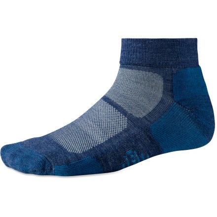 Fitness Perfect for warm-weather days when you need minimal cushion and coverage, the ankle-high SmartWool Outdoor Sport Light Mini socks prove that less can truly be more. Merino wool wicks away moisture and breathes to regulate temperature for outstanding comfort in a variety of conditions. Extra support under the arches, at the ankles and along your insteps improves fit; reinforced bottoms, heals and toes add long-lasting durability. SmartWool socks are guaranteed not to itch and can be repeatedly washed and dried without shrinking. Outdoor Sport Light Mini socks feature virtually seamless toes for reduced chafing and irritation. Closeout. - $9.93