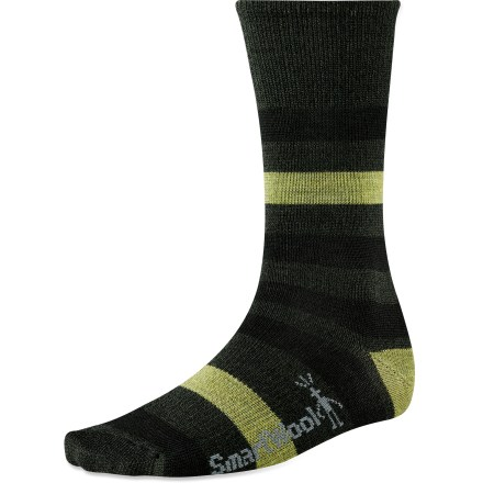 Take care of your feet with the SmartWool Trekker socks. They're designed to keep you comfortable on outings around town and during long days at work. Merino wool provides excellent temperature control and moisture management, so you're warm when it's cold and cool when it's warm. WOW(TM) (wool on wool) technology increases wool content in the heel and forefoot area, improving durability and overall comfort. Arch braces provide support. SmartWool socks are guaranteed not to itch and can be repeatedly washed and dried without shrinking. Closeout. - $11.73