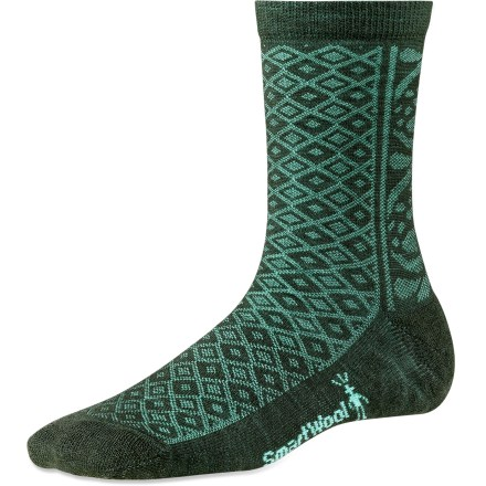 Great for any season, the SmartWool Lily Pond Pointelle socks offer feet superior comfort for everyday wear. Made from soft merino wool blended with nylon, these socks wick moisture away from your feet, keeping them dry and cool in the summer and warm in the winter. Elastane stretch delivers all-day comfort and helps keep socks in place; supportive arch braces add stability. Light cushioning underfoot delivers comfort for all-day wear. SmartWool socks are guaranteed not to itch and can be repeatedly washed and dried without shrinking. Closeout. - $10.93