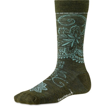 The SmartWool Floral Scroll socks feature a merino wool blend and light cushioning to keep your feet dry and comfortable all day long. A vibrant design lets you show your fun, personal style. - $13.73