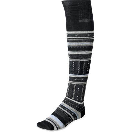 The SmartWool Gleaming Seedling socks offer knee-high coverage and the soft comfort of merino wool. Soft merino wool provides excellent temperature control, odor control and moisture management; stretch nylon helps maintain the fit. Supportive arch braces provide a comfortable fit. SmartWool socks are guaranteed not to itch and can be repeatedly washed and dried without shrinking. Closeout. - $13.73