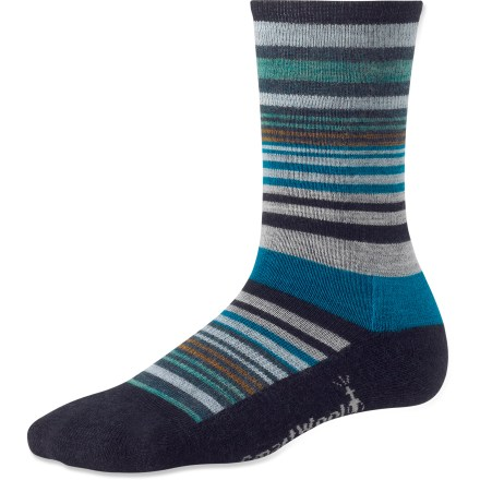 Soft merino wool, medium cushioning and a fun striped design make the SmartWool Jovian Stripe socks a happy choice for everyday casual wear. Made from soft merino wool blended with nylon, these socks wick moisture away from your feet, keeping them dry and cool in the summer and warm in the winter. Elastane stretch delivers all-day comfort and helps keep socks in place; supportive arch braces add stability. Medium cushioning in the heel and forefoot area delivers comfort and durablity for all-day wear; buried toe closures reduce chafing and chance of blisters. SmartWool socks are guaranteed not to itch and can be repeatedly washed and dried without shrinking. Closeout. - $11.93