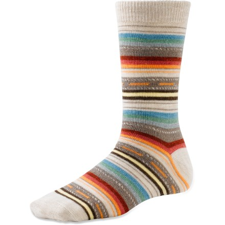Wear the casual SmartWool Margarita socks all year round. They'll keep your feet dry and comfortable, and the colorful pattern will add some fun to your everyday wear. Soft comfort cuff doesn't bind yet stays put. Spandex helps socks stretch and deliver all-day comfort. WOW(TM) (wool on wool) technology increases wool content in the heel and forefoot area, improving durability and overall comfort. SmartWool socks are guaranteed not to itch and can be repeatedly washed and dried without shrinking. Closeout. - $10.93