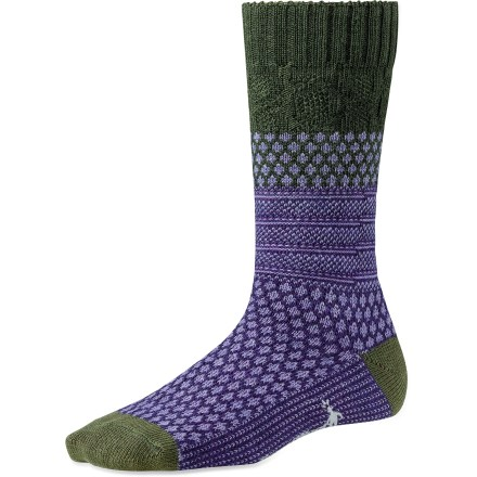 Great with your jeans or khakis, the itch-free SmartWool Popcorn Cable socks bring style and comfort to your daily adventures. WOW(TM) (wool on wool) technology increases wool content in the heel and forefoot area, improving durability and overall comfort. Light cushioning delivers comfort for all-day wear; tapered, flat-looped toe boxes eliminate bulkiness. SmartWool socks are guaranteed not to itch and can be repeatedly machine washed and dried without shrinking. Closeout. - $10.73