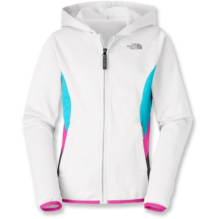 The Surgent Full-Zip Hoodie by The North Face will make girls glad to go outside; they'll be able to tell instantly that this fleece hoodie will keep them warm on its own or under a rain jacket. Soft polyester fleece is a cozy mid layer or a great lightweight outer layer when it's dry. Integrated UPF 50+ sun protection guards against harmful ultraviolet rays so her skin stays safe no matter how long she's outside. The North Face Surgent Full-Zip Hoodie features reflectivity on the zipper pull and the logo on the upper front left. - $37.93