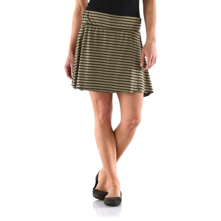 Add to your summer skirt collection with the easygoing Arbor Jolene Stripe Knit skirt. Made from an organic cotton/polyester/spandex blend for breathable comfort, durability and easy care. Arbor Jolene skirt has a wide flat waistband. - $21.83