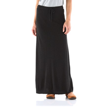 Entertainment The Arbor Harlow long skirt is easy to slip into and easy to dress up with a change of shirt and jewelry. Lightweight bamboo viscose and polyester jersey fabric provides soft, breathable comfort. Easy-to-wear drawcord waist lets you adjust the fit. Arbor Harlow long skirt has an relaxed A-line design. - $37.93