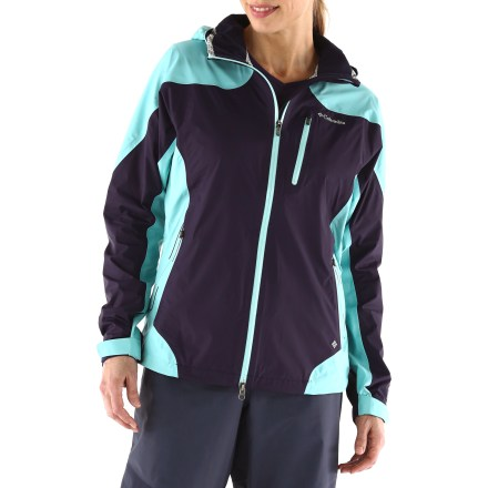 Waterproof, breathable and fully seam sealed, the Columbia Tech Attack shell keeps you dry and comfortable in rainy weather. Lightweight ripstop nylon shell with a 2.5-layer Omni-Tech(R) coating prevents wind and rain from creeping in. Omni-Tech coatings also breathes to alleviate moisture build-up. Omni-Dry(R) EVAP fabric treatment pulls moisture away quickly and speeds drying. 2-way front zipper and adjustable storm hood; chin guard protects sensitive skin. 2-way underarm zippers allow quick venting. Water-resistant zippers help keep Columbia Tech Attack shell light and packable by eliminating the need for heavy, bulky stormflaps. Adjustable cuffs and drawcord hem. Hand pockets have hidden zippers; includes zip chest pocket, interior security pocket and internal key clip. - $94.83