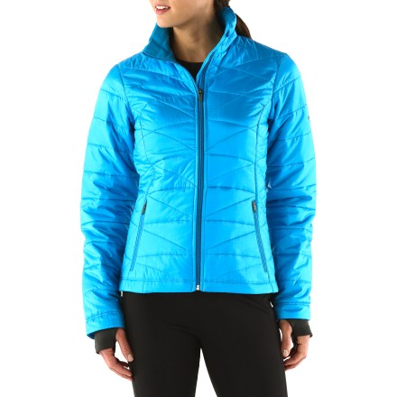 The Columbia Mighty Lite II jacket provides lightweight, packable warmth. Treated with an Omni-Shield(TM) coating, it resists stains and helps fend off light showers. Ripstop polyester shell is treated with Omni-Shield advanced repellency to make jacket highly water resistant. 80g partially recycled polyester fibers adds a cozy, insulating layer; Omni-Heat(TM) thermal reflective lining retains 20% more heat than traditional liners. Soft, cozy chin guard prevents unpleasant chafing. Zippered handwarmer pockets and interior security pocket stow a few small essentials. The Columbia Mighty Lite II jacket features thumbholes in cuffs that secure sleeves over hands for warmth. - $69.93