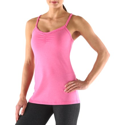Fitness The lucy Novelty Heart Center Cami top combines eye-catching style with performance-enhancing comfort. Moisture-wicking, quick-drying fabric is soft and cool on your skin, and a touch of spandex offers excellent 4-way stretch. Shelf bra offers light support and includes low-volume cups for modest shaping. Flat seams reduce chafing during movement. Fabric gathering at center front offers a nice touch of style. Made for activity, the lucy Novelty Heart Center Cami top features a body-hugging fit. - $37.93