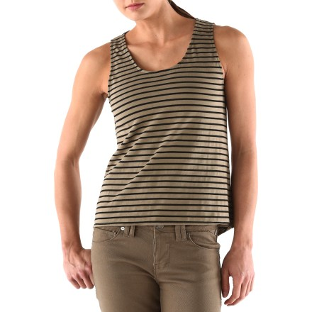Surf Throw on the Arbor June Stripe tank top and get yourself outside. Made from an organic cotton blend for breathable comfort, durability and easy care. Back button detail and a dropped back hem add sassy style. - $11.83