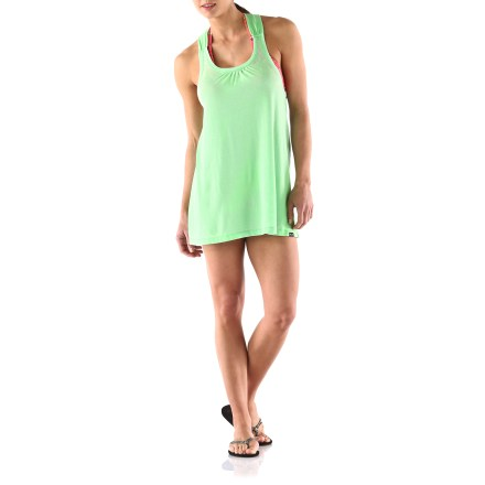 Fitness Oakley Cellophane Knit Drape tank top makes a great cover up over your bikini top. Lightweight jersey cotton/poly blend has a soft hand. Racerback design. - $16.83