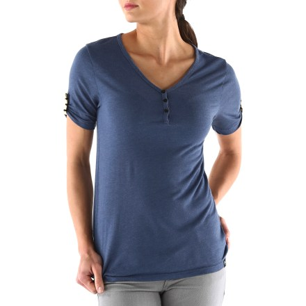 The Arbor Melrose Henley T-shirt offers a versatile style that goes anywhere. Lightweight bamboo viscose and polyester jersey fabric provide soft, breathable comfort. Features a V-shaped Henley neckline and short sleeves with contrast button tabs. - $17.83