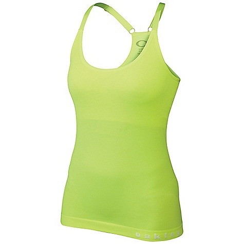 Fitness Oakley Women's Race Day Tank DECENT FEATURES of the Oakley Women's Race Day Tank O Hydrolix fabric manages moisture to keep you comfortable on the move Seamless construction reduces irritations Anti-bacterial action reduces the effects of odor-causing microbes Adjustable straps and contoured stretch fabric create a customized, comfortable fit Built-in bra controls bounce 87% Nylon, 13% Spandex - $44.00