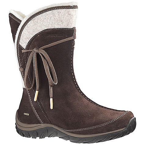 Free Shipping. Patagonia Women's Attlee Tie Waterproof Boot DECENT FEATURES of the Patagonia Women's Attlee Tie Waterproof Boot Waterproof pigskin leather upper 100% recycled polyester lace closure with bamboo aglet 200 gram Prima-Loft Eco insulation provides warmth 200 gram polyester lining and footbed provides warmth, comfort and wicks moisture Polyester fleece collar lining 3mm nylon shank 6.6 injection molded arch shank provides support under the arch and a natural flex at the ball of the foot 3DF removable triple-density footbed with 15% recycled EVA provides women's-specific cushioning and support Patagonia Air Cushion provides shock absorption Leaf 15% recycled rubber outsole provides traction and slip resistance with siped tread Waterproof Construction Shaft height: 24 cm/9.5 inches (top of heel to top of boot) Last characteristics: medium width, medium toe box, medium arch support The SPECS Weight: 1/2 pair: 17 oz Better Leather Waterproof Construction Prima-Loft Eco Insoles Medium Support/flex Recycled Rubber - $189.95