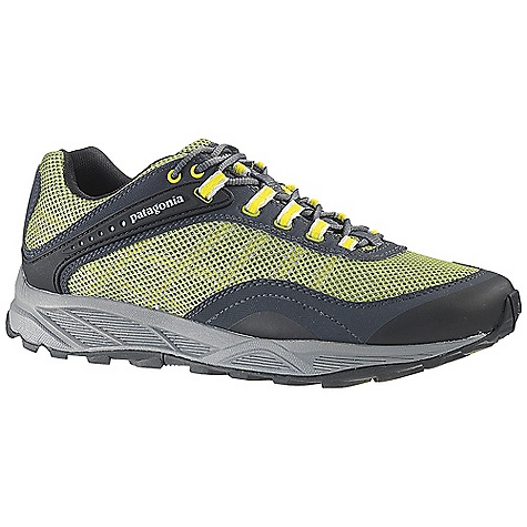 Fitness Free Shipping. Patagonia Men's Specter Shoe DECENT FEATURES of the Patagonia Men's Specter Shoe Gender-specific anatomical trail running last provides a precise fit for control on uneven terrain Breathable, wicking air mesh and synthetic leather provides upper protection and durability Patagonia Dynamic Fit Lacing System combines with webbing to wrap and hold the foot securely TPU instep arms lock heel 100% recycled polyester moisture wicking ventilated air mesh collar and tongue lining Reflective webbing and heel for high visibility 20% recycled EVA anatomical perforated footbed supports, cushions and molds to the contour of your foot Forefoot shock absorption pad and multiple flex grooves provide metatarsal protection and flexibility Gender-specific ultra-lightweight 15% recycled EVA footframe is 25% lighter than standard EVA foam 0.8mm (women) forefoot shock absorption plate distributes pressure, protecting the foot while maintaining forefoot flexibility Multi-density sticky rubber outsole provides 360 degree wet/dry traction in varying conditions Moisture-wicking mesh upper and lining 25% lighter EVA footframe with added heel cushion and metatarsal protection Shock distribution and forefoot protection plate Last characteristics: Medium width, medium arch support, performance true to size fit The SPECS Weight: 1/2 pair: 11.9 oz Vegan friendly Medium Support/flex - $124.95