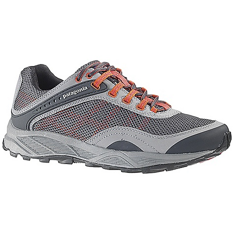 Fitness Free Shipping. Patagonia Women's Specter Shoe DECENT FEATURES of the Patagonia Women's Specter Shoe Gender-specific anatomical trail running last provides a precise fit for control on uneven terrain Breathable, wicking air mesh and synthetic leather provides upper protection and durability Patagonia Dynamic Fit Lacing System combines with webbing to wrap and hold the foot securely TPU instep arms lock heel 100% recycled polyester moisture wicking ventilated air mesh collar and tongue lining Reflective webbing and heel for high visibility 20% recycled EVA anatomical perforated footbed supports, cushions and molds to the contour of your foot Forefoot shock absorption pad and multiple flex grooves provide metatarsal protection and flexibility Gender-specific ultra-lightweight 15% recycled EVA footframe is 25% lighter than standard EVA foam 0.8mm (women) forefoot shock absorption plate distributes pressure, protecting the foot while maintaining forefoot flexibility Multi-density sticky rubber outsole provides 360 degree wet/dry traction in varying conditions Moisture-wicking mesh upper and lining 25% lighter EVA footframe with added heel cushion and metatarsal protection Shock distribution and forefoot protection plate Last characteristics: Medium width, medium arch support, performance true to size fit The SPECS Weight: 1/2 pair: 10 oz Vegan friendly Medium Support/flex - $124.95
