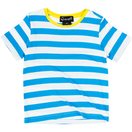 From Sunday afternoon picnics to poolside play dates, keep your kid feeling comfy and looking dapper in the A For Apple Stripe Boys' Short-Sleeve T-Shirt. The breezy cotton fabric will help him stay cool and the horizontal stripes provide a casual look that works for any occasion. - $34.95