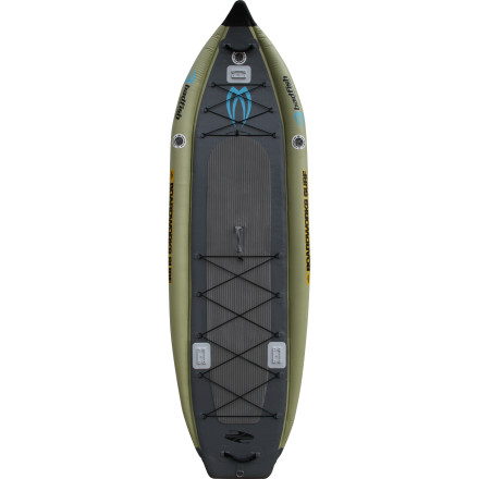 Wake Fishing from shore just isn't the same as reeling in a bass from atop the Badfisher Inflatable Stand-Up Paddleboard; this angling SUP puts you at just the right level to see fish in the water without scaring them away. The wide deck sits at a lower position than the rails, adding a heaping helping of lateral stability that allows you to walk around and change your position without fear of flipping over. A touch of rocker helps the bow smooth out choppy water conditions, and a 2+1 rear fin configuration gives you the type of control you would expect from a surfing stand-up board. And the best part about the Badfisher' It deflates, rolls up into a burrito-style carrying tarp, and stores in the trunk of your car. For the angler, this is the perfect, portable SUP option. - $1,598.95