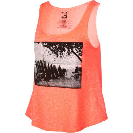 Surf A simple poly-cotton tank, but adorned with a surf-loving scenic graphic and cropped in a sporty cut, the Billabong Women's All Things With Love Tank Top does it all with ease. To the beach, hitting the surf, or kicking it in park, this top is your instant old best friend. - $17.96