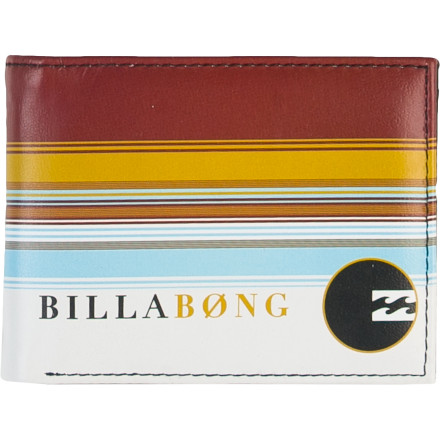 Entertainment Ditch the boring old brown leather wallet and put a little color in your pocket to match your lifestyle with the Billabong Spinner Bi-Fold Men's Wallet. - $23.95