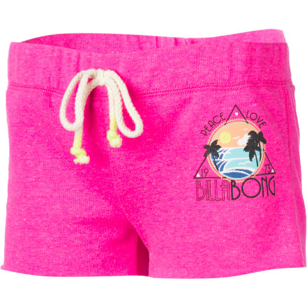 Surf Bold, bright, and cheery, the Billabong Girls' Cutbacks Drawcord Short looks like a party and feels like a breeze. Made from loose-knit French terry, this short always feels cool and comfy next to skin, and its dip-dye drawcord and fun screen print give it plenty of beach-loving looks. - $25.95