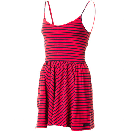 Entertainment The above-knee length Billabong Showin' Ropes Dress features a stretchy stripe knit fabric with a scooped back neck and skirt paneling details for a flowy, flattering look. - $39.45