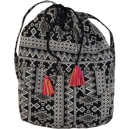 Surf The super-cool, slouchy Billabong Sandy Streets Backpack adds eye-catching colors and patterns to your beach-going fun. Toss in your paperback, sunscreen, and snacks with room to spare, and stash your phone and media player in the outer pockets for on-the-way access. A drawcord with funky tassels remind you it's all about fun. - $43.95