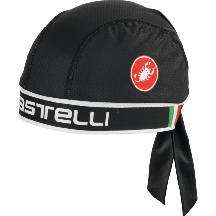 Fitness When your helmet pads soak through, perspiration has nowhere to go but down your face and neck. The sweat eventually moves to your sunglasses and eyes, which becomes irritating and causes you to pull your attention away from your riding. Avoid the salty streaks and burning eyes by wearing Castelli's lightweight bandana under your helmet. It's constructed with the same smooth Prosecco Strada multi-denier fabric that's used in a majority of Castelli's jerseys, making it the perfect addition to your everyday riding gear. This material has also been treated with Castelli's Prosecco. Essentially, this treatment disperses moisture widely over the surface of the bandana, accelerating evaporation. The material is lightweight (29 grams for the entire bandana), highly stretchable, and it breathes well. Together, these attributes lend themselves to keeping your head cool and without interfering with your helmet's fit. The bandana also adds a bit of protection from the sun's powerful rays while you pedal away for hours on end. Sublimation printing provides long-lasting vibrant colors, and the adjustable back closure lets you dial in a custom fit. The Castelli Bandana is available in one size and in the colors Black, Red, and White. - $19.96