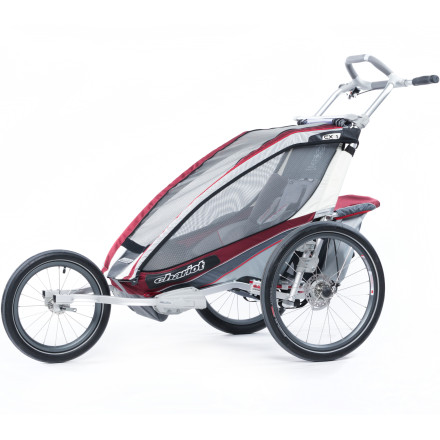 Fitness Get a workout while showing your kid the sights with the durable, stable, and safety-conscious Chariot Carriers CX1 Stroller with Jogging Kit. With an anodized aluminum roll cage frame, CAS Suspension system, and five-point child safety harness, this stroller lets you hit the ground running with your child in tow and peace of mind. An ergonomic handlebar and hand-activated drum brakes give you natural-positioned comfort and easy operation. A silent weather cover that won't disturb your sleeping beauty and protect against wind, rain, and cold; the sunshade, vents, and tinted windows ensure optimal comfort in warm weather. - $949.95