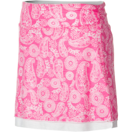 When she pulls on the soft, smooth Gracie Girls' Olivia Skirt with the allover sweet pink paisley print, she'll feel like the belle of the ball. Drapey and elegant yet cool and casual, this skirt goes from playground to party in easy comfort. Pair with a ruffly blouse and Mary Janes or a hoodie and boots for easy everyday style. - $25.95