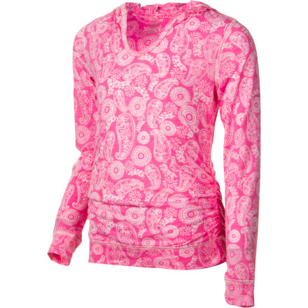 The smooth and sweet Gracie Girls' Abby Hooded Shirt gives her a cool look and comfy coverage. Made from vintage and burnout jersey, this drapey top with allover paisley print provides plenty of feminine style and a hood for sporty edge. - $28.95