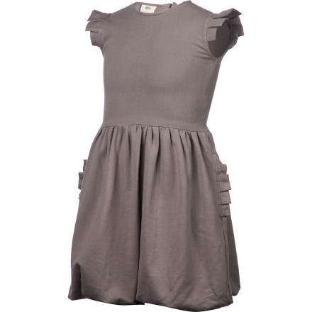 Entertainment The Kate Quinn Organics Girls' Pleated Arm Ruffle Pocket Dress gives your little princess a fashion-forward look that is both sugary sweet and right on-trend thanks to geometric pleats and a balloon hem. This little dress is perfect for dress-up parties and special occasions when you want her to look her best. - $55.95