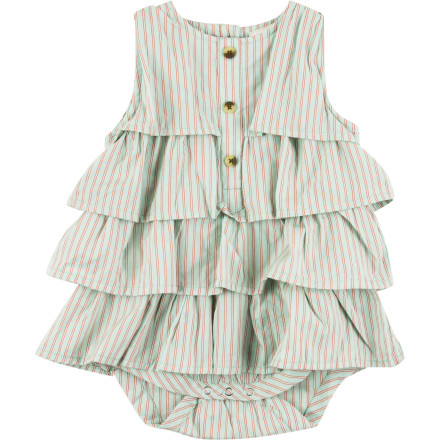 "Entertainment Put your baby in the Kate Quinn Organics Infant Girls' Tiered Ruffle Dress Bodysuit and give her the soft, easy feel of organic cotton and an insanely cute look that will earn her even more ""oohs"" and ""aahs."" - $41.95"