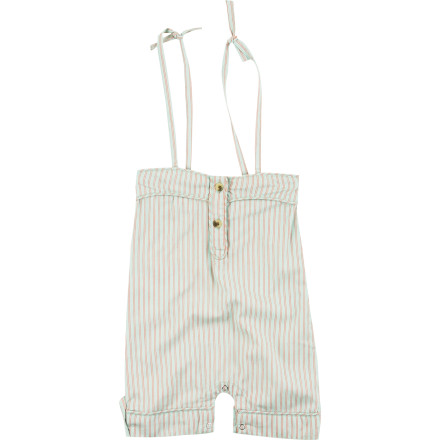 Put your baby girl in the Kate Quinn Organics Infant Girls' Spaghetti Strap Piped Jumpsuit and bring her to the beach. The lightweight fabric will keep her cool and comfy while she's exploring warm sand and seashells. - $37.95