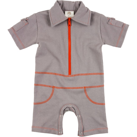 The Kate Quinn Organics Infant Boys' Utility Zip Jumpsuit gives your baby boy full-fledged leisure-suit style that will make you miss disco music and feathered hair. Zip him up in this super-soft romper and hang a disco ball above his crib. - $41.95
