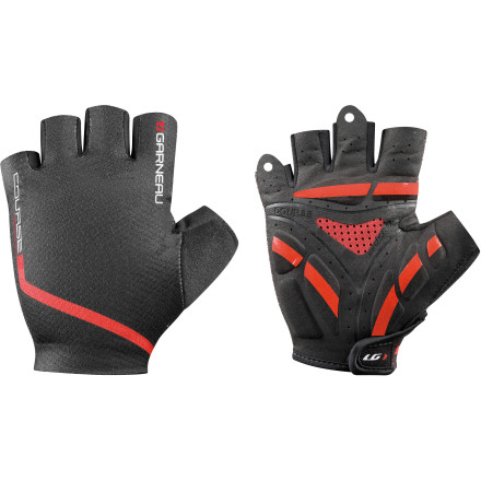 Fitness There's no question that riding in gloves beats riding without, but often they make your already hot hands even hotter. This isn't true for the Louis Garneau Course glove. Treated with Coldblack heat-reflective material, the Course glove has the same effect as holding your hand in the shade while you ride.The first thing you'll notice when you slip the Course Glove onto your hand is the small hook-and-loop fastening strap on the underside of the wrist. This prevents the irritation caused when your wrist is bent back, rubbing the strap. We also found it easier to get the fit right with the fastening strap in this position. Garneau's patented 5-channel Ergo Air concept  promotes airflow through the glove to move warm air and moisture out and bring cool air in. The system pulls sweat vapor out of the glove to keep your hand cool and dry. The back of the glove, made of Lycra fiber, also promotes ventilation through the glove to cool your hand down. The highly absorbent thumb panel is perfect when you need to quickly dab a sweaty brow. The palm of the Course Glove is made with seamless Clarino, a durable synthetic leather that provides excellent grip and dexterity. The seamless, multi-density padding relieves pressure on the ulnar and median nerves to eliminate numbness. It also soaks up shock and road vibration that can cause fatigue. A Coldblack finish reflect heat rather than absorbs it. This keeps your hand cooler for added comfort. As a nice final touch, the Garneau Course Glove has a refinement that we wish came on all half-finger glovesa pull tab that eases entry and exit. The Louis Garneau Course Glove comes in sizes S through XXL and is available in Black/red. - $49.95