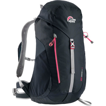 Climbing Pack your lunch, water, and rain jacket into the Lowe Alpine Women's AirZone ND 24 Backpack and you're ready to hit the trail. The women-specific AirZone suspension utilizes a breathable mesh back panel to keep you dry and conforms to the shape of your pack for a comfortable carry. When a rain shower passes by, a zipped front pocket provides quick access to a jacket while the rain cover keeps your gear dry. - $139.95