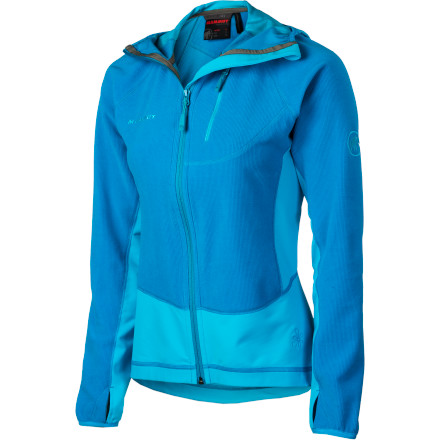 Spoil your body in fine fit and liberating stretch with the Mammut Women's Yukon Tech Jacket. Anatomically cut to mold to your body for bulk-free athletic performance, this jacket was born to move like a stealth lizard up rock and over rugged peaks. Stretch panel inserts increase mobility and breathability for optimal freedom and comfort. An anatomically cut hood hugs your head with protection and warmth without restricting vision. - $138.95