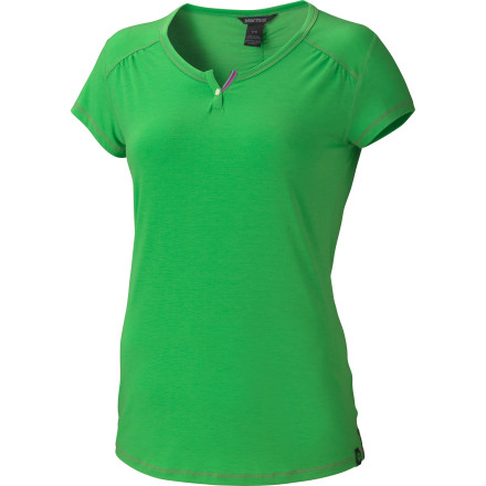 Camp and Hike If you expect every item in your wardrobe to do double-duty, you need more tops like the Marmot Women's Sara Short-Sleeve Shirt. Its soft DriRelease Tencel fabric wicks and dries quickly for comfort on a sweaty hike, but thanks to the FreshGuard treatment, the Sara won't end up consigned to the drawer of permanently semi-stinky stuff that's only fit for active outdoor wear. That means you can enjoy its sweet feminine style anytime, anywhere. - $47.95