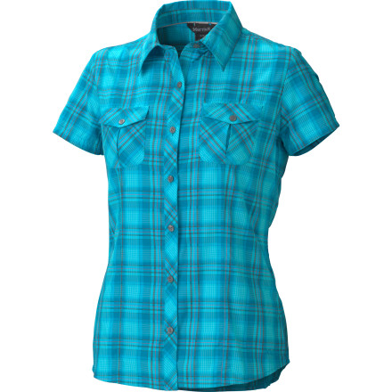 Camp and Hike The Marmot Women's Audrey Plaid Short-Sleeve Shirt combines sassy Western style with trail-worthy performance. Made from quick-drying Supplex that shields you from UV rays, this comfy shirt also fits right in at the mountain-town saloon after your hike or ride. - $57.95