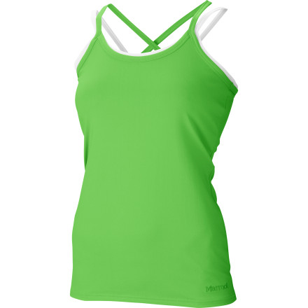 Fitness Double your fun in the Marmot Women's Erin Tank Top. This strappy sport top with a faux layered look may look like a fashion piece, but between the abrasion-resistant, wicking stretch fabric and the breathable shelf bra, it's as ready as you are to attack a route or head out on a hike. - $54.95