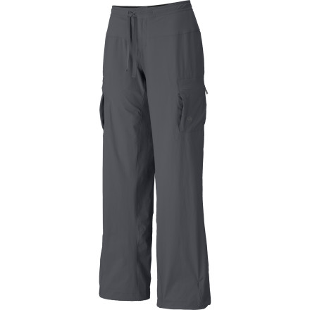 Camp and Hike The mud-loving, long-leaping, high-stepping Mountain Hardwear Womens Yuma Pant will never hold you back on the trail or wall. Made from durable yet lightweight and stretchy softshell with DWR and lined with sweat-wicking and soft brushed mesh, this pant protects you from the weather and from clammy discomfort. A full-length gusset lets you do the splits if that's your thing; it's that accommodating. A drawcord hem lets you cinch the legs to seal out elements or ankle-biting pests, and a micro-chamois inner waistband and drawcord give you precision fit for everyday comfort. - $69.95