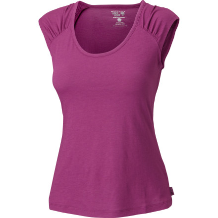 Few things are as simple and sweet as a cap-sleeve top, and the Mountain Hardwear Women's Pandra Cap Sleeve T-Shirt gives you high-tech performance in its feminine silhouette. Made from Emplacement Jersey with DriRelease blended yarns, it wicks away sweat, breathes, and fights odor for cool, dry comfort and enduring freshness. Flatlock seams won't chafe under a pack or extra layers. And with this cute look you can go straight from the trail to the pub for a celebratory pint. - $49.95