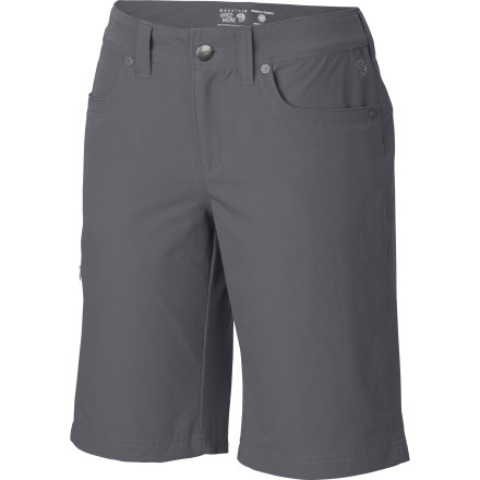 Camp and Hike The Mountain Hardwear Women's La Strada Short protects and stretches for enduring comfort on those marathon trips and looks lean and sleek for ultimate travel versatility. Finished with DWR to repel water so you stay dry when waiting for that slow bus and built with stretch and an inseam gusset for optimal mobility and comfort, the La Strada is fit for the trail or town. Its long length makes it modest, appropriate, and urban-stylish wherever you roam. - $64.95