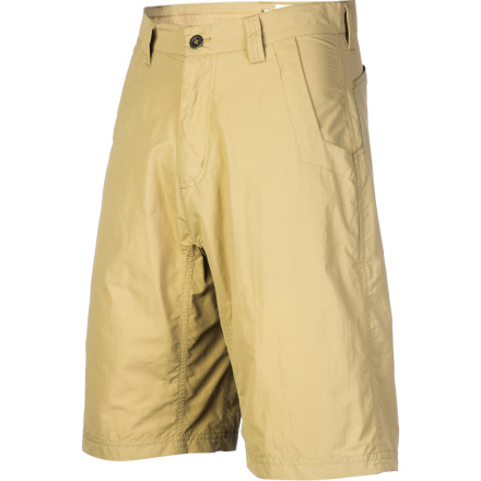 Camp and Hike Cross borders and leave everything else behind when you wear the Mountain Khakis Men's Equatorial Short. Mountain Khakis is synonymous with high-quality pants and workwear, and this short represents that very same quality, only it was designed for travelers, hikers, and campers. The relaxed fit and gusseted crotch give you freedom to move, a water-repellent coating keeps you dry, and midweight synthetic material makes this short highly packable and quick drying. At some point in your travels you'll have to pare your travel kit down to the bare essentials, and we're confident that this short will make the cut. - $69.95