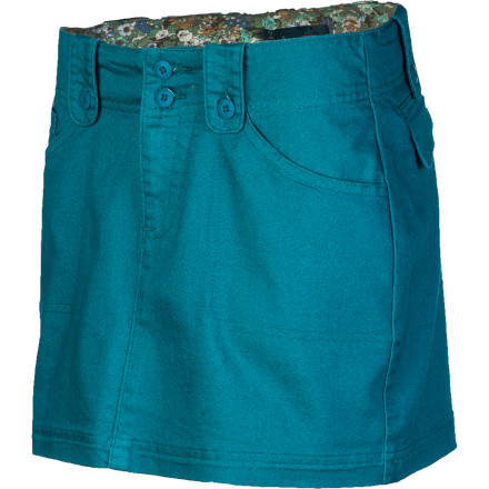 The denim skirt is nothing new, but the soft and stretchy prAna Women's Avery Skirt allows tons of mobility and provides a comfortable everyday fit. Its floral contrast inner waistband puts a pretty punch in this skirt, and patch pockets add classic style and carrying convenience. - $59.95