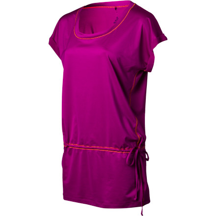 The light and easy dropped-waist prAna Women's Ella Tunic Top feels like a dream next to skin in the hot summer. It drapes and has a loose fit for everyday comfort, and the eco-friendly performance jersey stretches four-ways for unhindered mobility, features UPF sun protection, and dries in a flash for all-day comfort. And with sweet, sporty details like rolled hems, waist tie, and contrast stitching, it's not just about performance. - $54.95