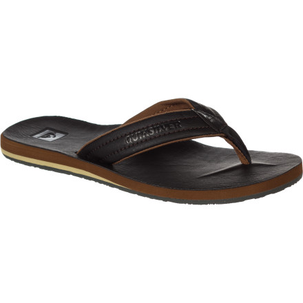 Surf If you love the look of leather sandals but get bummed that you can't take them in the water, then check out the Quiksilver Carver Nubuck 4 Men's Flip Flop. It's made with a synthetic nubuck that's water friendly so you're not afraid to make a splash. - $25.60